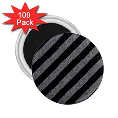 Stripes3 Black Marble & Gray Denim (r) 2 25  Magnets (100 Pack)  by trendistuff