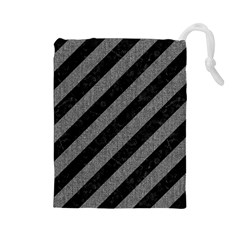 Stripes3 Black Marble & Gray Denim (r) Drawstring Pouches (large)  by trendistuff