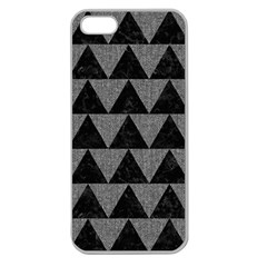 Triangle2 Black Marble & Gray Denim Apple Seamless Iphone 5 Case (clear) by trendistuff