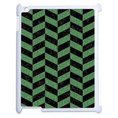 Chevron1 Black Marble & Green Denim Apple Ipad 2 Case (white) by trendistuff