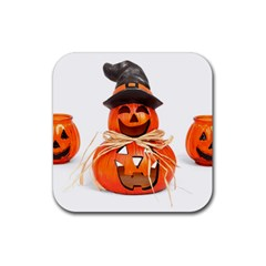 Funny Halloween Pumpkins Rubber Square Coaster (4 Pack)  by gothicandhalloweenstore