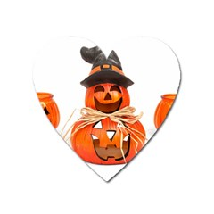 Funny Halloween Pumpkins Heart Magnet by gothicandhalloweenstore