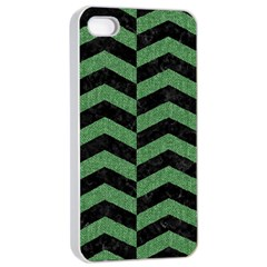 Chevron2 Black Marble & Green Denim Apple Iphone 4/4s Seamless Case (white) by trendistuff