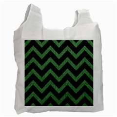 Chevron9 Black Marble & Green Denim (r) Recycle Bag (two Side)  by trendistuff