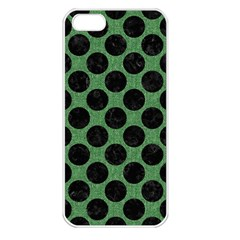 Circles2 Black Marble & Green Denim Apple Iphone 5 Seamless Case (white) by trendistuff