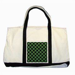 Circles2 Black Marble & Green Denim (r) Two Tone Tote Bag by trendistuff
