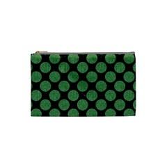 Circles2 Black Marble & Green Denim (r) Cosmetic Bag (small)  by trendistuff