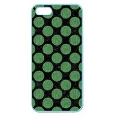 Circles2 Black Marble & Green Denim (r) Apple Seamless Iphone 5 Case (color) by trendistuff