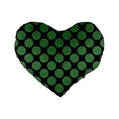 Circles2 Black Marble & Green Denim (r) Standard 16  Premium Flano Heart Shape Cushions by trendistuff