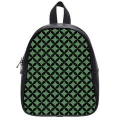 Circles3 Black Marble & Green Denim School Bag (small) by trendistuff