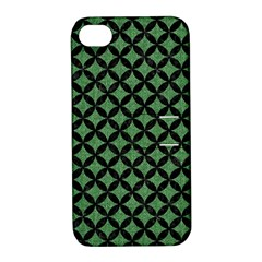 Circles3 Black Marble & Green Denim Apple Iphone 4/4s Hardshell Case With Stand by trendistuff