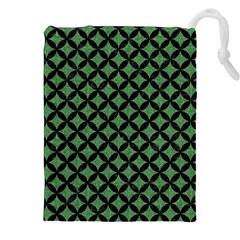 Circles3 Black Marble & Green Denim Drawstring Pouches (xxl) by trendistuff