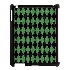 Diamond1 Black Marble & Green Denim Apple Ipad 3/4 Case (black) by trendistuff
