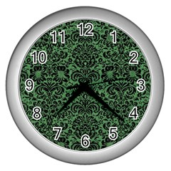 Damask2 Black Marble & Green Denim Wall Clocks (silver)  by trendistuff