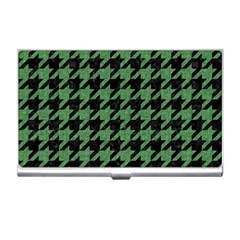 Houndstooth1 Black Marble & Green Denim Business Card Holders by trendistuff