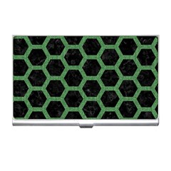 Hexagon2 Black Marble & Green Denim (r) Business Card Holders by trendistuff