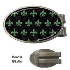Royal1 Black Marble & Green Denim Money Clips (oval)  by trendistuff