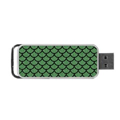 Scales1 Black Marble & Green Denim Portable Usb Flash (two Sides) by trendistuff