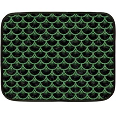 Scales3 Black Marble & Green Denim (r) Fleece Blanket (mini) by trendistuff