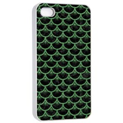 Scales3 Black Marble & Green Denim (r) Apple Iphone 4/4s Seamless Case (white) by trendistuff