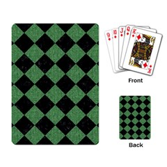 Square2 Black Marble & Green Denim Playing Card by trendistuff