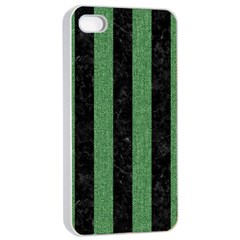 Stripes1 Black Marble & Green Denim Apple Iphone 4/4s Seamless Case (white) by trendistuff