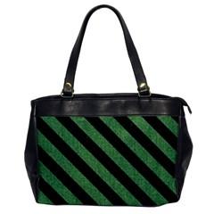 Stripes3 Black Marble & Green Denim Office Handbags by trendistuff