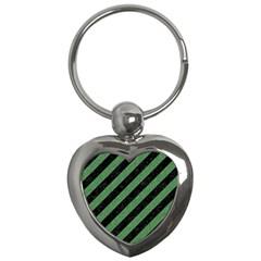 Stripes3 Black Marble & Green Denim (r) Key Chains (heart)  by trendistuff