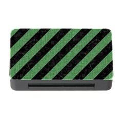 Stripes3 Black Marble & Green Denim (r) Memory Card Reader With Cf by trendistuff