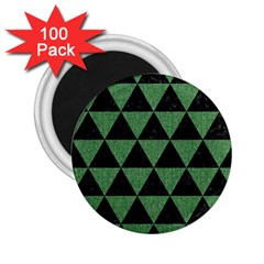 Triangle3 Black Marble & Green Denim 2 25  Magnets (100 Pack)  by trendistuff