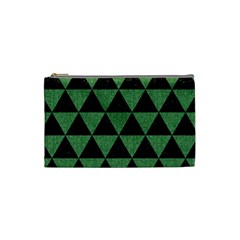 Triangle3 Black Marble & Green Denim Cosmetic Bag (small)  by trendistuff
