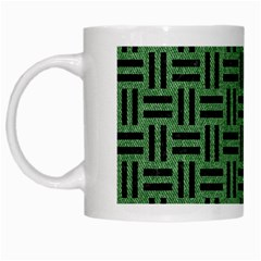 Woven1 Black Marble & Green Denim White Mugs by trendistuff