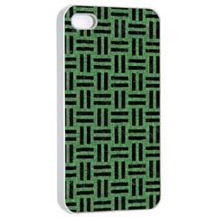 Woven1 Black Marble & Green Denim Apple Iphone 4/4s Seamless Case (white) by trendistuff