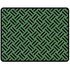 Woven2 Black Marble & Green Denim Double Sided Fleece Blanket (medium)  by trendistuff