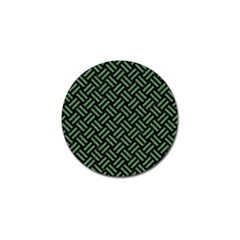 Woven2 Black Marble & Green Denim (r) Golf Ball Marker (10 Pack) by trendistuff