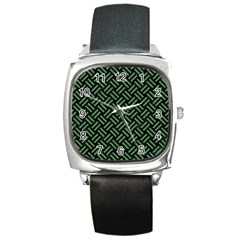 Woven2 Black Marble & Green Denim (r) Square Metal Watch by trendistuff