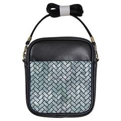 Brick2 Black Marble & Ice Crystals Girls Sling Bags by trendistuff