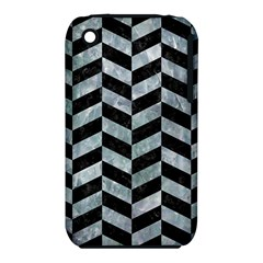 Chevron1 Black Marble & Ice Crystals Iphone 3s/3gs by trendistuff
