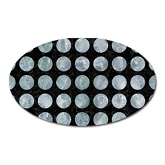 Circles1 Black Marble & Ice Crystals (r) Oval Magnet by trendistuff