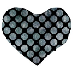 Circles2 Black Marble & Ice Crystals (r) Large 19  Premium Flano Heart Shape Cushions by trendistuff
