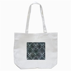 Damask1 Black Marble & Ice Crystals Tote Bag (white) by trendistuff