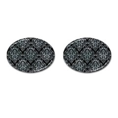Damask1 Black Marble & Ice Crystals (r) Cufflinks (oval) by trendistuff