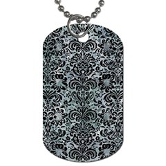 Damask2 Black Marble & Ice Crystals Dog Tag (one Side) by trendistuff