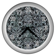 Damask2 Black Marble & Ice Crystals (r) Wall Clocks (silver)  by trendistuff
