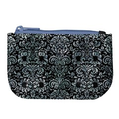 Damask2 Black Marble & Ice Crystals (r) Large Coin Purse by trendistuff