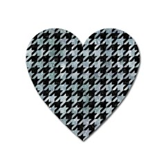 Houndstooth1 Black Marble & Ice Crystals Heart Magnet by trendistuff
