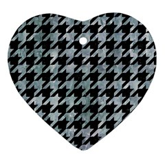 Houndstooth1 Black Marble & Ice Crystals Heart Ornament (two Sides) by trendistuff
