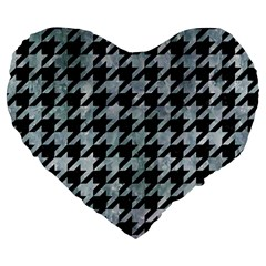 Houndstooth1 Black Marble & Ice Crystals Large 19  Premium Heart Shape Cushions by trendistuff