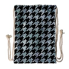 Houndstooth1 Black Marble & Ice Crystals Drawstring Bag (large) by trendistuff
