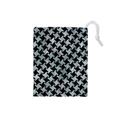 Houndstooth2 Black Marble & Ice Crystals Drawstring Pouches (small)  by trendistuff